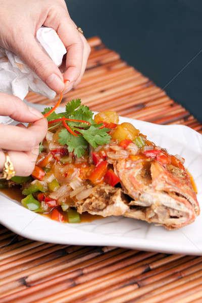 Gıda stilist balık Taylandlı stil bütün Stok fotoğraf © ArenaCreative
