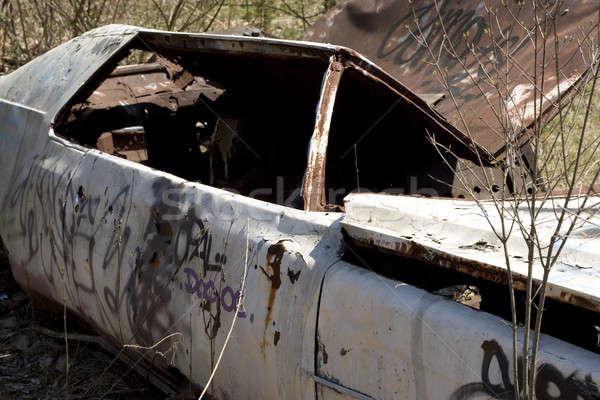 Stockfoto: Verlaten · auto · oude · lichaam · gedekt · graffiti