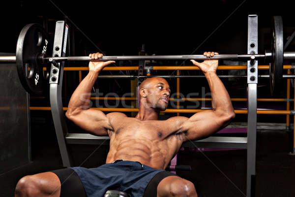 Stockfoto: Bank · druk · gewicht · lift · barbell · lichaam