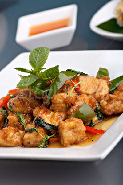 Fűszeres thai étel friss keverés sült tofu Stock fotó © ArenaCreative