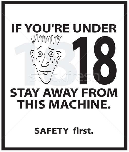 Segurança cartaz assinar lata usado peça Foto stock © ArenaCreative