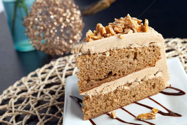 Mandorla torta fetta caffè cioccolato dolce Foto d'archivio © arenacreative