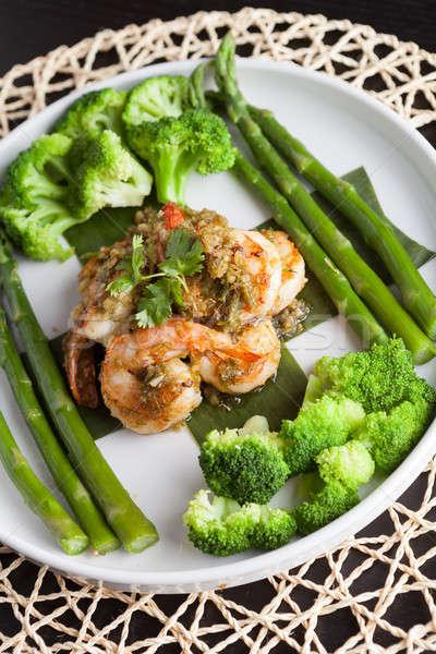 Shrimp Scampi with Vegetables Stock photo © arenacreative