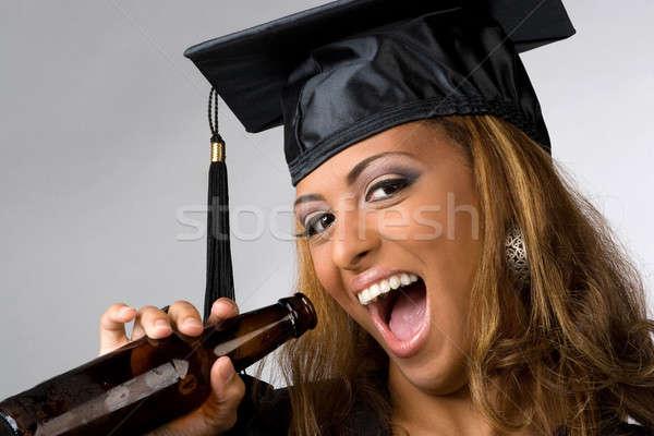 幸せ 大学院 飲料 ポーズ キャップ ガウン ストックフォト © ArenaCreative