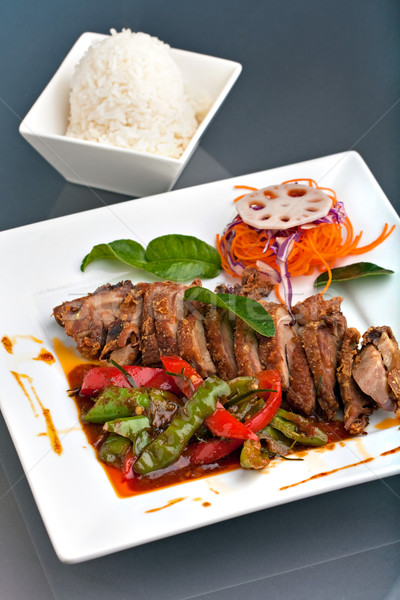 Thai Chili basilic canard plat riz Photo stock © ArenaCreative