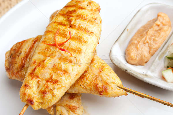 Grilled Chicken Satay Close Up Stock photo © ArenaCreative