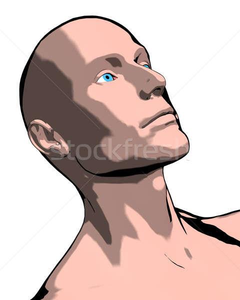 Chauve homme illustration profonde visage Photo stock © ArenaCreative
