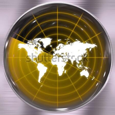 Blauw wereld radar wereldkaart scherm kan Stockfoto © ArenaCreative