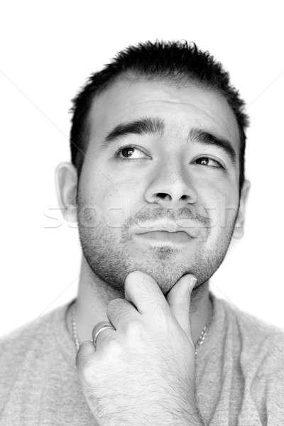 Ernstig overpeinzing jonge man hand kin denken Stockfoto © ArenaCreative