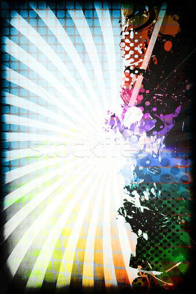 Funky szivárvány elrendezés színes folt halftone Stock fotó © ArenaCreative