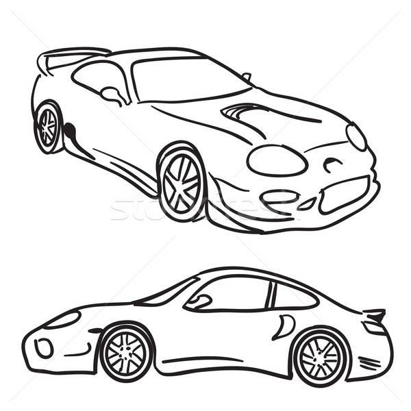 Sportautó clip art rajzok izolált fehér vektor Stock fotó © ArenaCreative