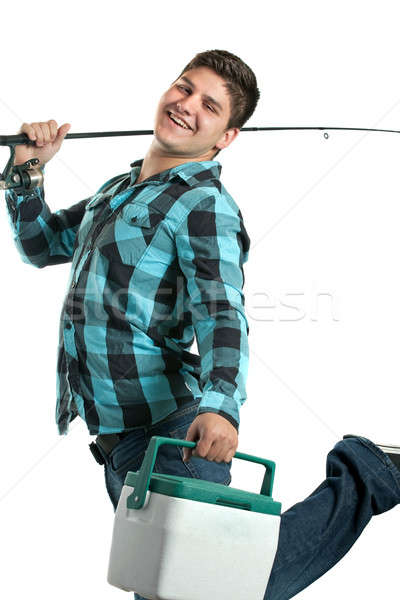 Happy Fisherman with His Rod and Cooler Stock photo © ArenaCreative