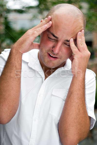 Kafa ağrı üzgün genç sıkıntı stres Stok fotoğraf © ArenaCreative