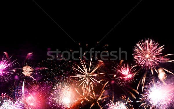 Tűzijáték gyönyörű el negatív űr sötét Stock fotó © ArenaCreative