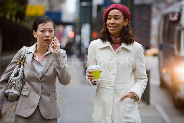 Stock fotó: Város · üzlet · nők · kettő · sétál · nagy