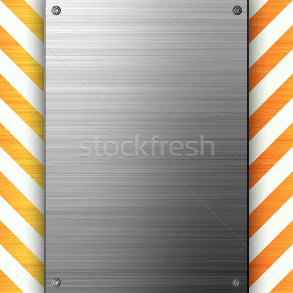 Hazard metal 3D tablicy budowy Zdjęcia stock © ArenaCreative