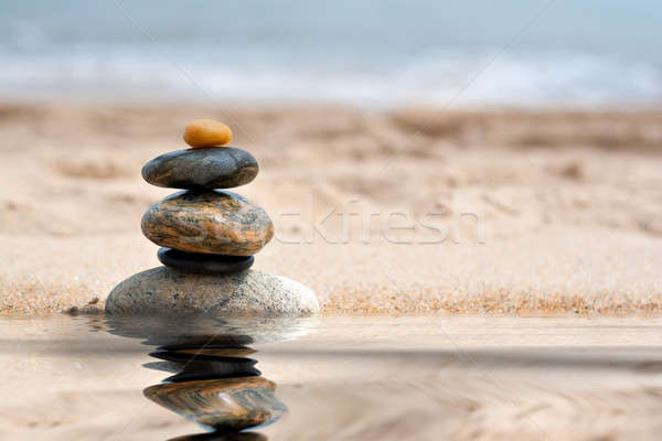 Stacked Zen Rocks Reflection Stock photo © ArenaCreative