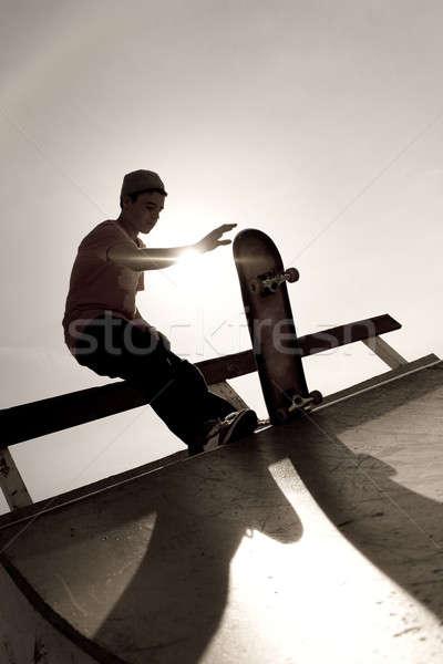 скейтбордист силуэта молодые Top нарастить спорт Сток-фото © ArenaCreative