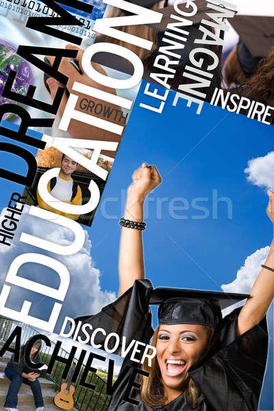 образование монтаж макет фотографий текста студентов Сток-фото © ArenaCreative