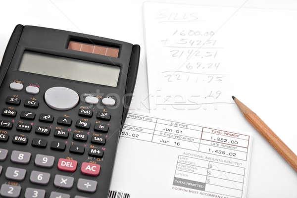 Para cima mensal despesas calculadora documentos Foto stock © ArenaCreative
