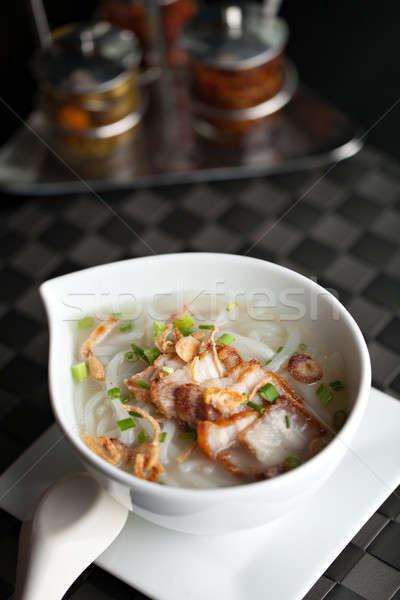 タイ ヌードル スープ ぱりぱり 豚肉 クローズアップ ストックフォト © arenacreative