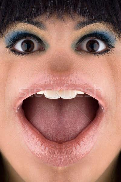 Rana donna primo piano distorto faccia guardare Foto d'archivio © ArenaCreative