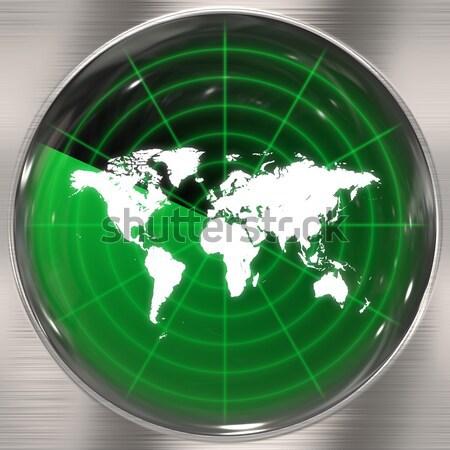 Stock fotó: Zöld · világ · radar · világtérkép · képernyő · konzerv
