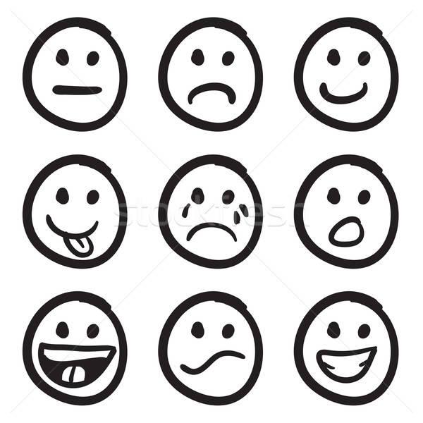 Cartoon Smiley Faces Doodles Stock photo © ArenaCreative