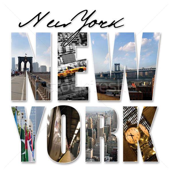 Нью-Йорк графических монтаж коллаж различный известный Сток-фото © ArenaCreative