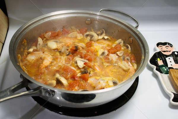 Сток-фото: креветок · блюдо · свет · вино · соус · подготовленный