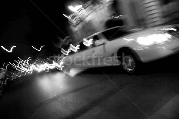 Stad nacht abstract Blur witte limousine Stockfoto © ArenaCreative