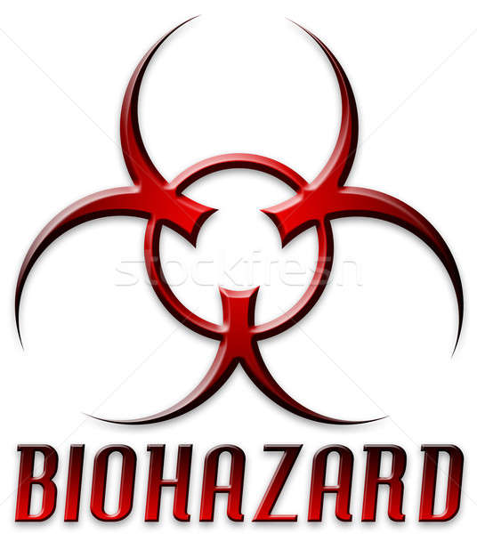 Stock photo: Beveled Red Biohazard Logo