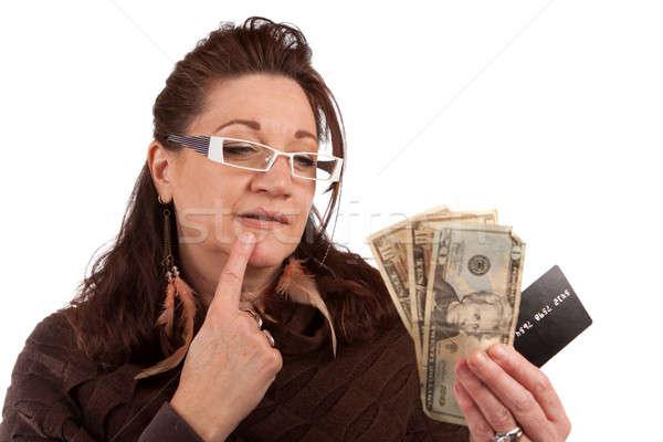 Nakit kredi kartı orta yaşlı kadın dikkatlice eski moda plastik Stok fotoğraf © ArenaCreative
