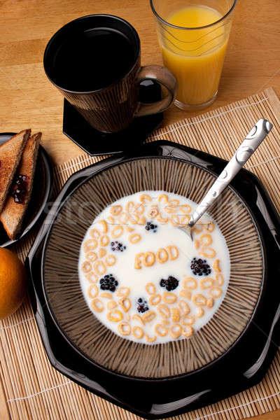 Ontbijtgranen woord voedsel uit brief Stockfoto © ArenaCreative