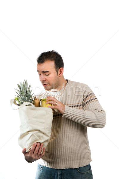 человека глядя внутри продуктовых сумку белый Сток-фото © ArenaCreative
