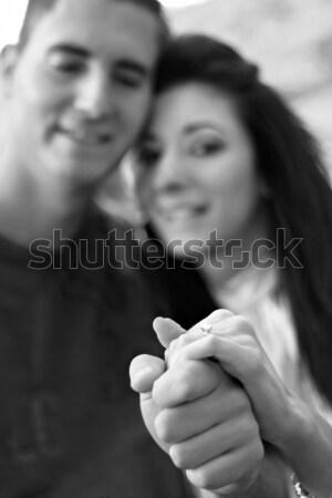 Photo stock: Couple · diamant · bague · de · fiançailles · jeunes · heureux