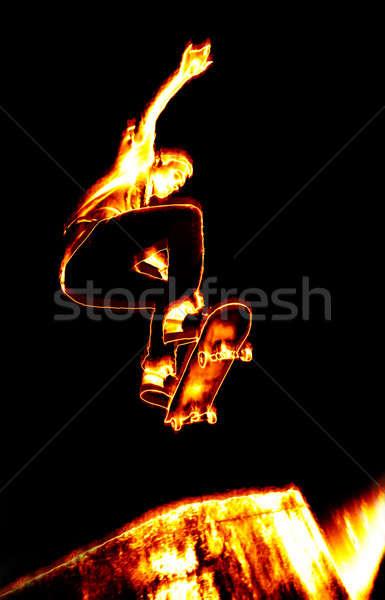 Ardiente skater ilustración realizar llamas fuego Foto stock © ArenaCreative