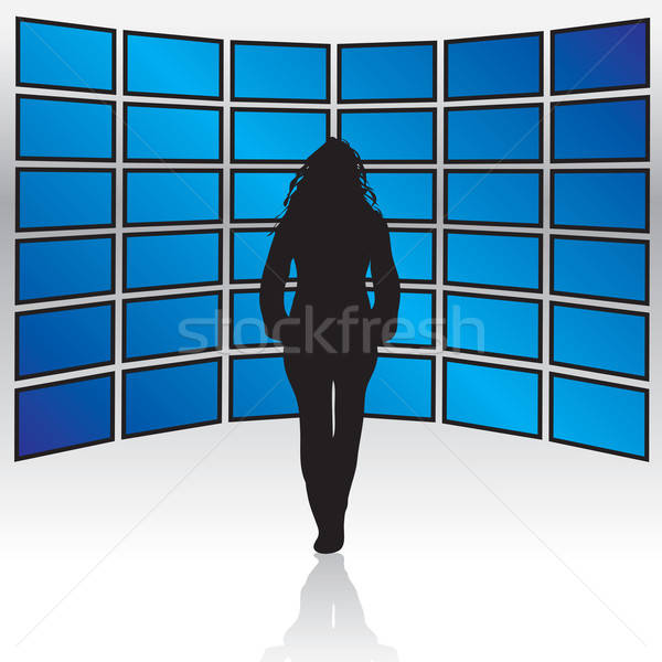 Fal szélesvásznú nő áll LCD plazma Stock fotó © ArenaCreative