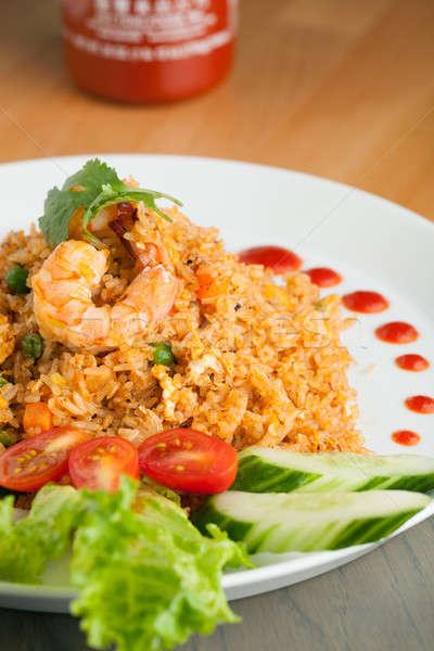 Foto stock: Frito · arroz · camarão · prato · enfeite · jantar