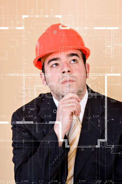 Onderzoeken blauwdrukken gewoonte home bouwer architect Stockfoto © ArenaCreative
