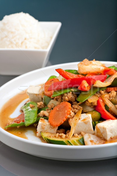Thai Food Stir Fry with Jasmine Rice Stock photo © ArenaCreative