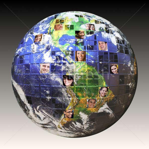 Globális hálózat emberek montázs Föld összes Stock fotó © ArenaCreative