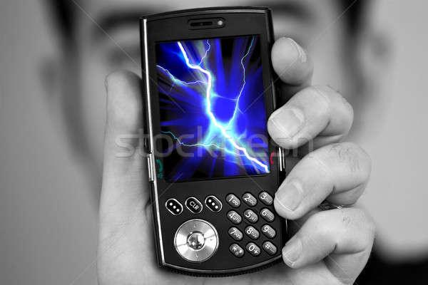Celular radiação homem ilustração tela Foto stock © ArenaCreative