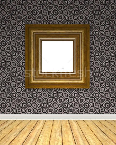 Bağbozumu sanat galerisi boş iç arka plan ahşap Stok fotoğraf © ArenaCreative