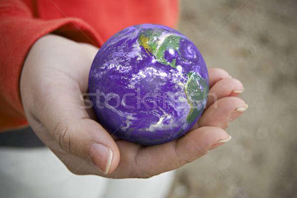 Stockfoto: Wereld · afbeelding · aarde · palm