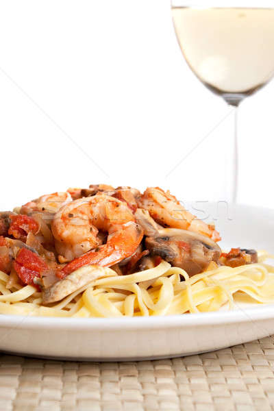Shrimp Scampi with Linguine Stock photo © ArenaCreative
