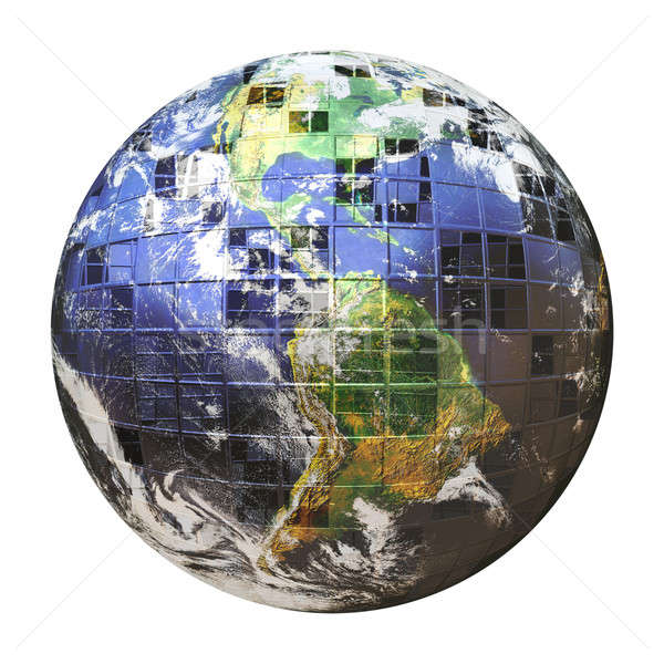 3D Wire Frame Earth Sphere Stock photo © ArenaCreative