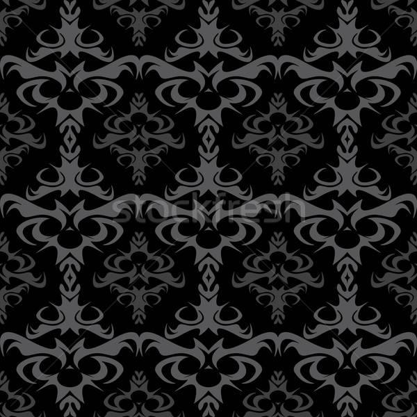 Ciemne bezszwowy wektora adamaszek wzór tekstury Zdjęcia stock © ArenaCreative
