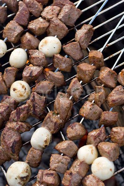 Сток-фото: говядины · кебаб · приготовления · горячей · лагерь · огня