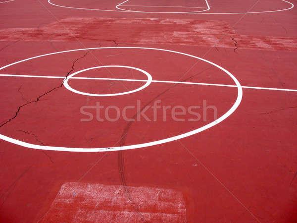 городского баскетбольная площадка пусто белый окрашенный линия Сток-фото © ArenaCreative